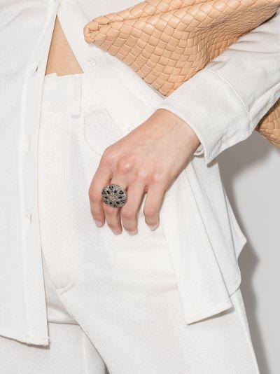 9K yellow gold diamond sapphire ring