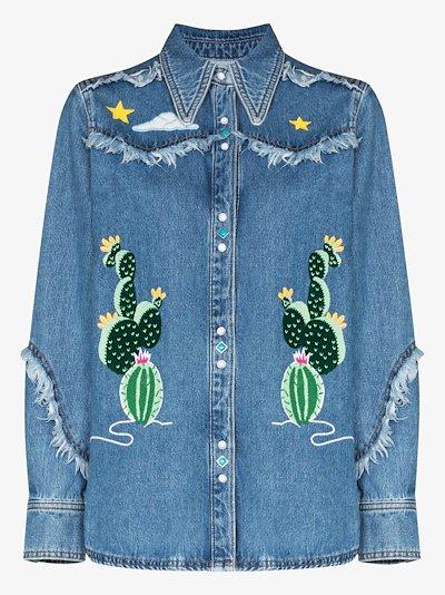 cactus embroidered Western denim shirt