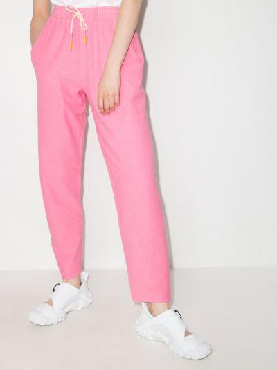 Drawstring cropped track pants