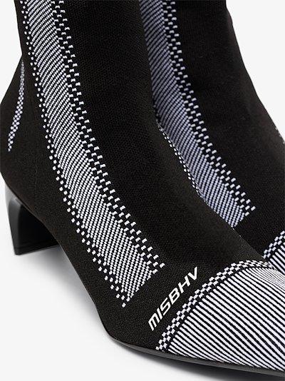 Black 80 striped logo knit ankle boots