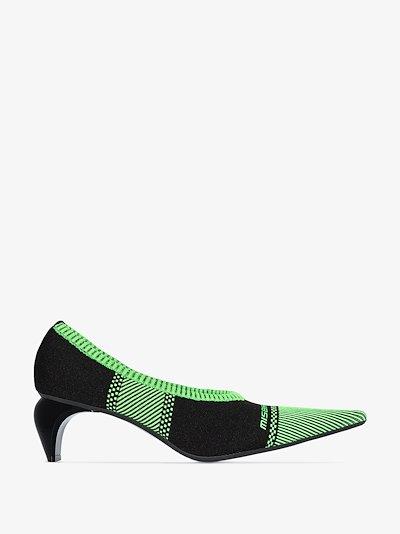 Black and green striped logo knit sock pumps