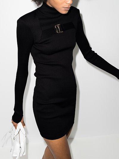 high neck belt detail mini dress