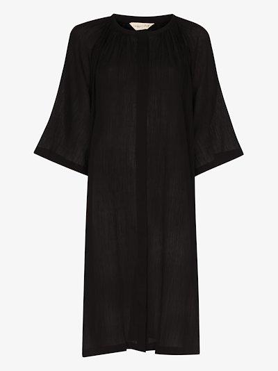 button-up cotton midi dress