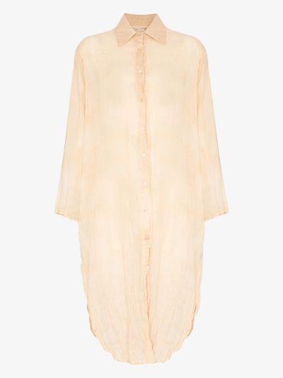 crinkled midi shirt dress