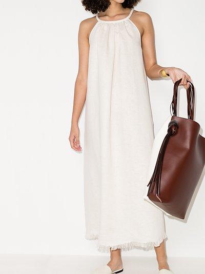 frayed hem linen dress