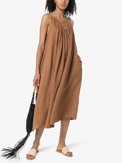 pleated linen midi dress