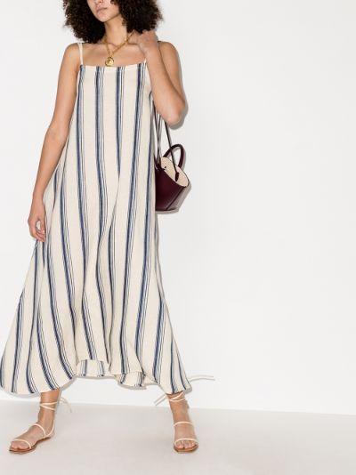 striped linen maxi dress