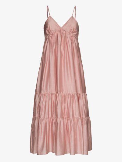Tiered V-neck midi dress