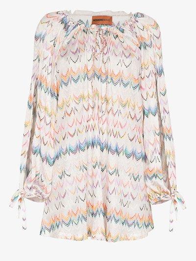 embroidered zigzag mini dress