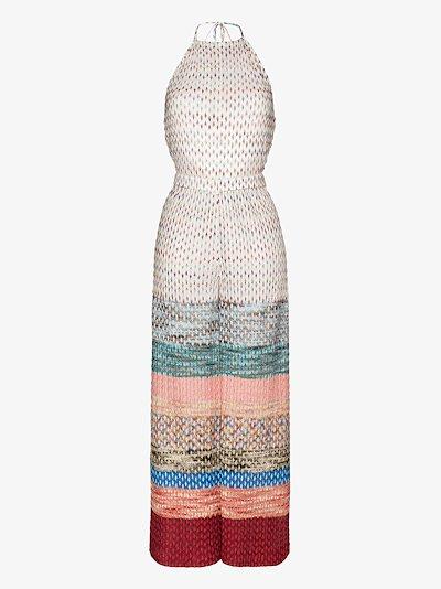 halterneck crochet knit jumpsuit