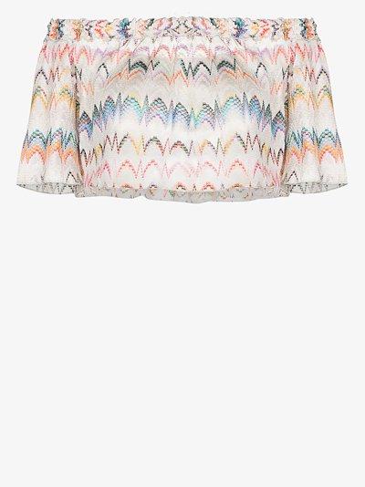 Off-the-shoulder zigzag knit top