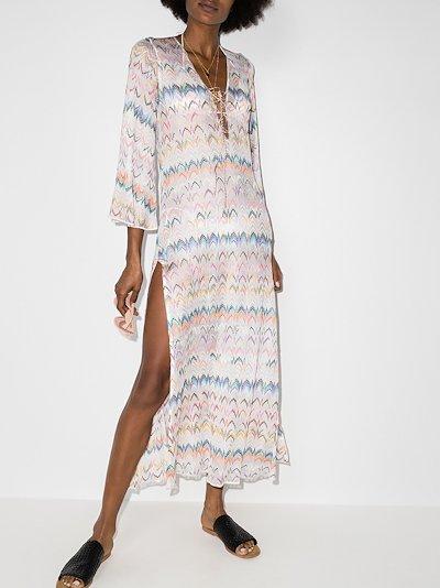 zigzag embroidered midi dress
