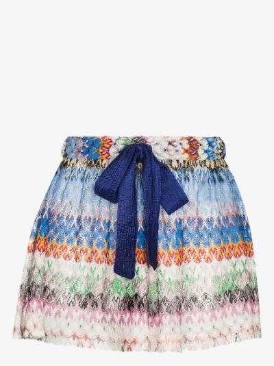 zigzag knit tie waist shorts