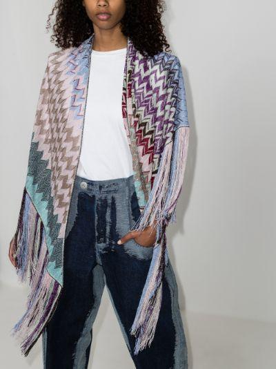 multicoloured zigzag fringed poncho