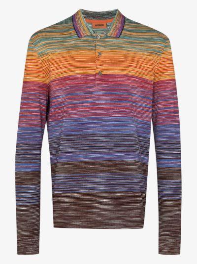 zigzag cotton polo shirt