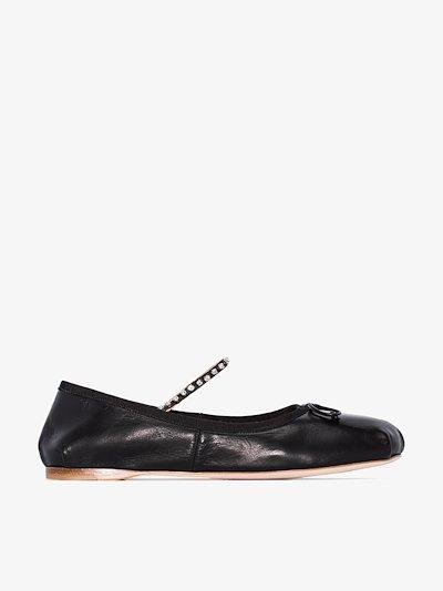 black crystal leather ballet pumps
