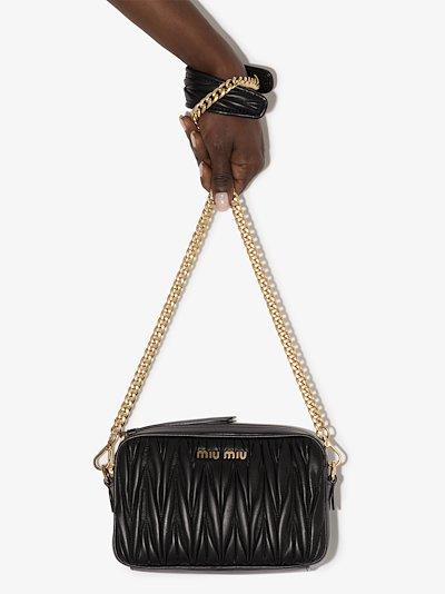 black matelassé leather camera bag