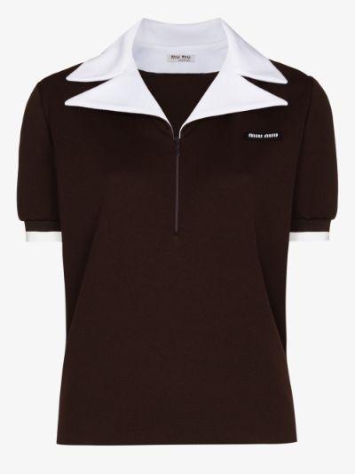 contrast collar cotton polo shirt
