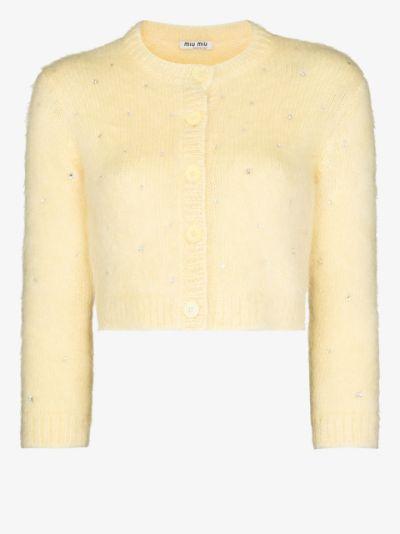 crystal embellished wool cardigan