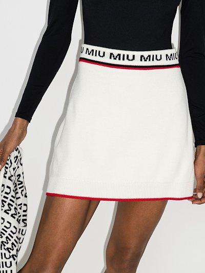 jacquard logo knitted mini skirt