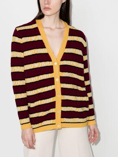 Logo Striped Wool Cardigan