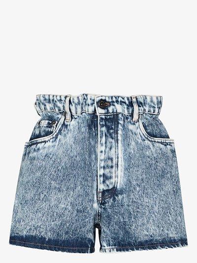paper bag waist acid wash denim shorts