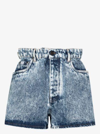 paper bag waist denim shorts