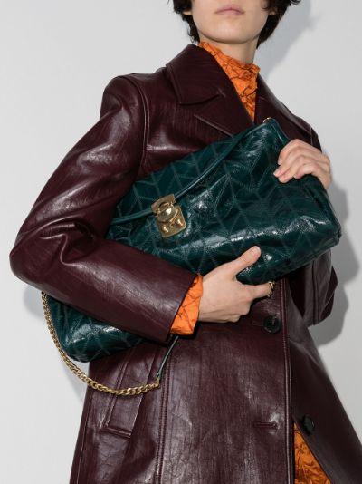 patchwork motif clutch bag