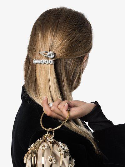 silver tone crystal hair clip