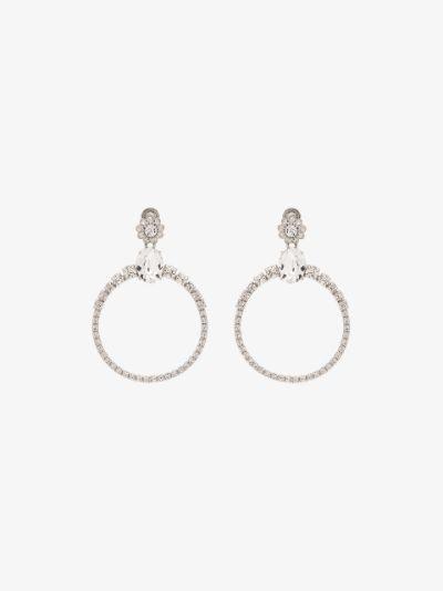 silver tone crystal hoop earrings