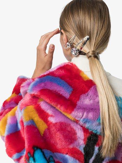 Silver tone small crystal hair clip