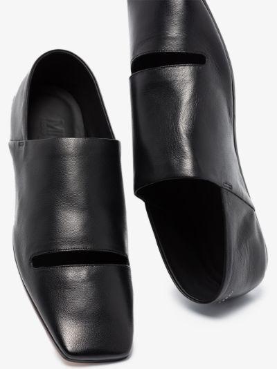 black double function cutout leather pumps