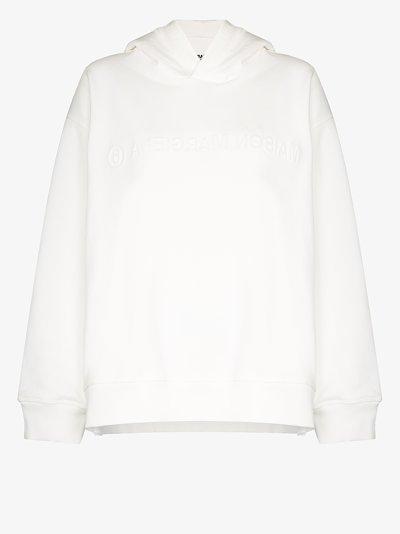 logo embossed cotton hoodie
