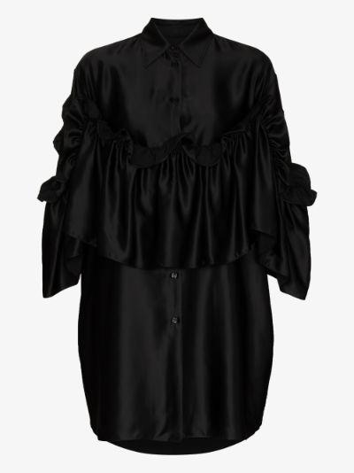 ruffled oversized mini shirt dress