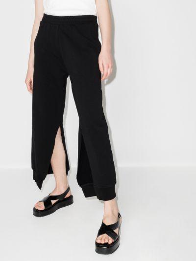 Slit cotton track pants
