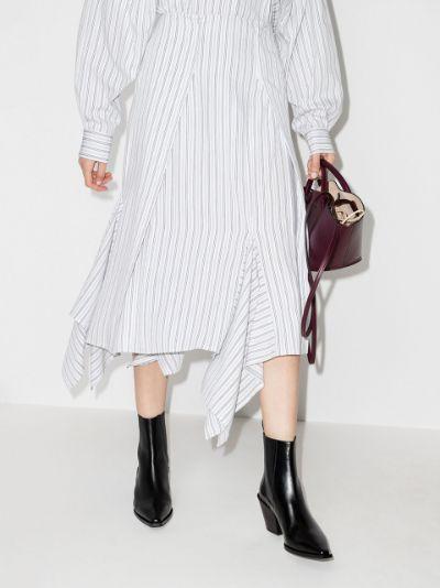 Transformative striped asymmetric midi skirt