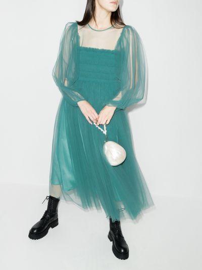 Amélie smocked tulle midi dress