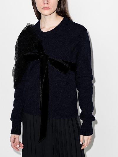 Eliza tulle bow wool sweater
