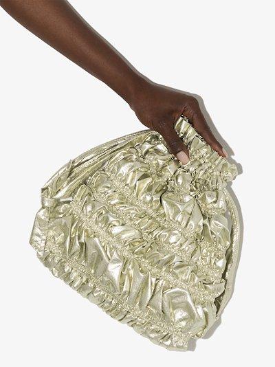 gold tone Nara Bumpy drawstring clutch bag