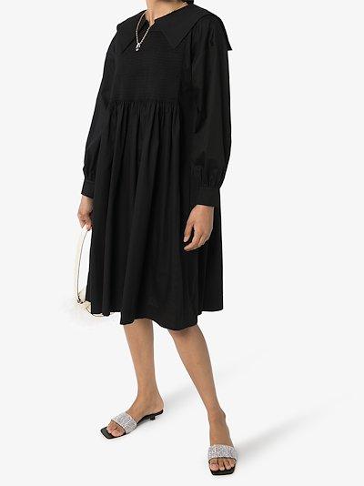 Greta shirred cotton dress