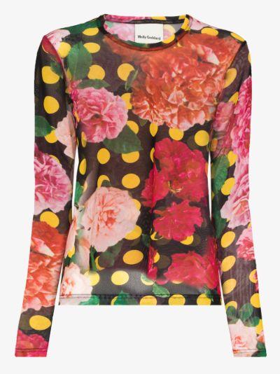 polka dot floral mesh top