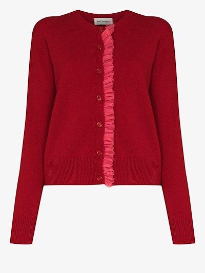 Portia ruffle trim wool cardigan