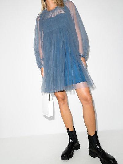 X Browns 50 Octavia hand-smocked tulle mini dress