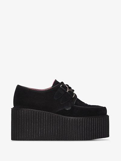 X Underground black Mort flatform suede creeper shoes