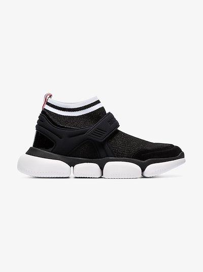 Black Velcro suede trim sock sneakers