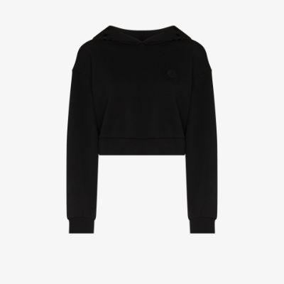 cropped logo print hoodie