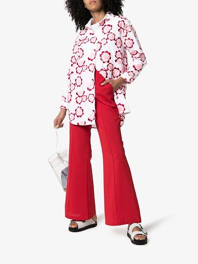 4 Moncler Simone Rocha floral embroidered cotton shirt