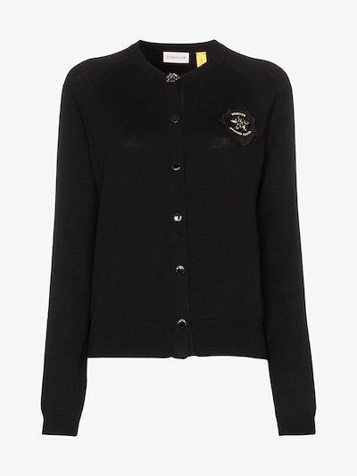 4 Moncler Simone Rocha logo patch wool cardigan