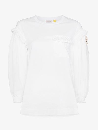 4 Moncler Simone Rocha ruffled logo T-shirt