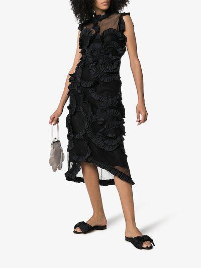 4 Moncler Simone Rocha ruffled sheer silk midi dress